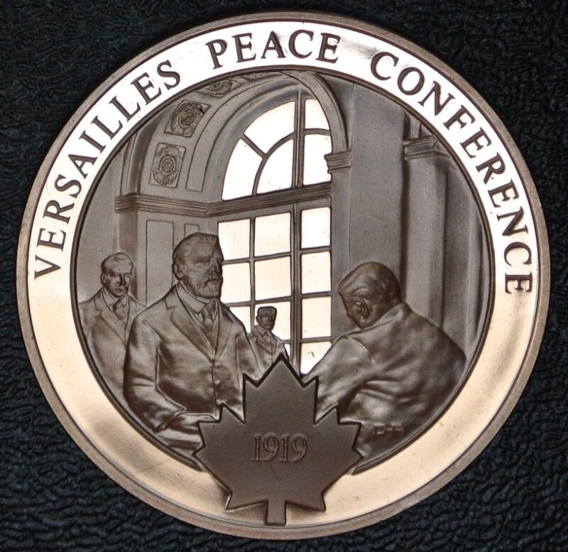 VERSAILLES PEACE CONFERENCE MEDALLION -Bronze - Franklin Mint - 44mm Dia. -PROOF