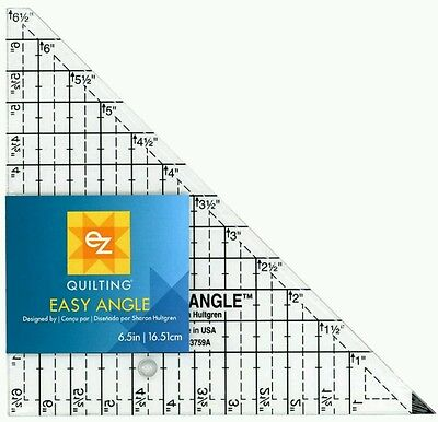EZ SIMPLICITY EASY ANGLE 6.5 INCH TRIANGLE QUILTING PATCHWORK TEMPLATE BNEW