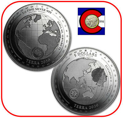2020 Tokelau Terra $5 1 oz Silver BU Coin in capsule