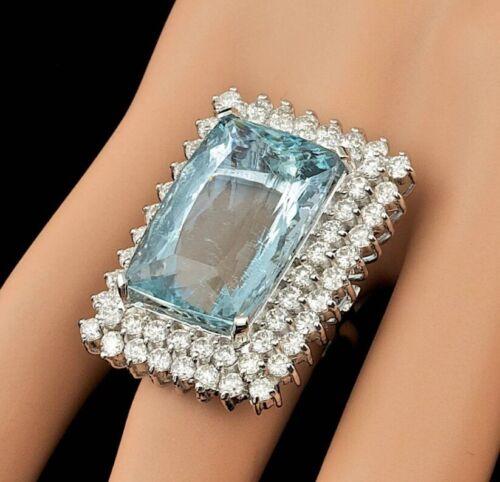Huge Art Deco Fine Design With 25.17CT Clear Aquamarine & 3.84CT Round CZ Ring