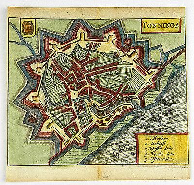 TÖNNING DEUTSCHLAND EUROPA KOL KUPFERSTICH ANSICHT ZEILLER MERIAN 1656 #D863S