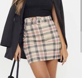 PLT stone check belted mini skirt