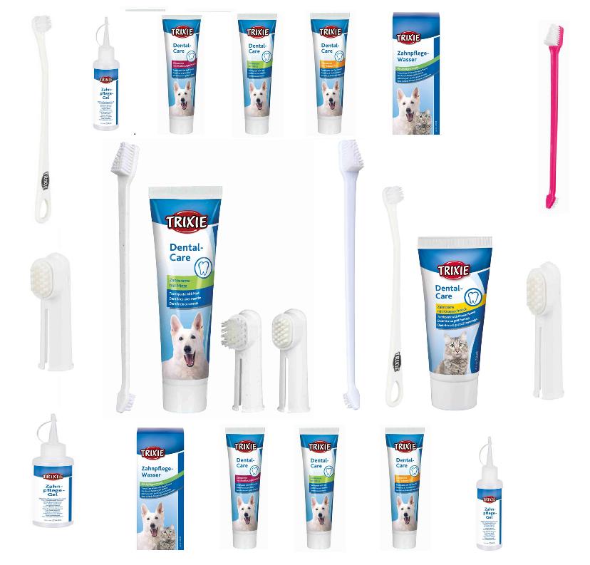 Trixie Hunde Katze Zahnpflegeset Zahnpasta Zahnbürste Gel Spar Wasser Cream