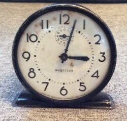 WESTCLOX RAVEN Windup Alarm Clock Black Vintage Retro