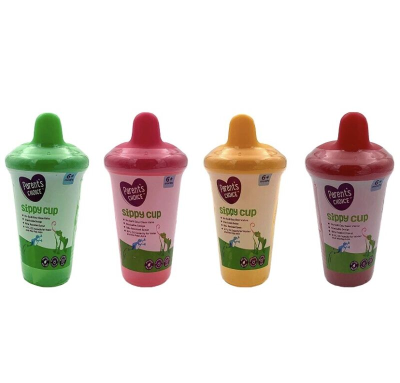 Parents Choice Sippy Cup 9oz. Pack of 4 - Green, Pink,Yellow & Red