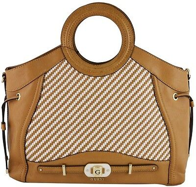 GUESS Mauritius Bag Carryall Large Camel Brown Weave Pattern