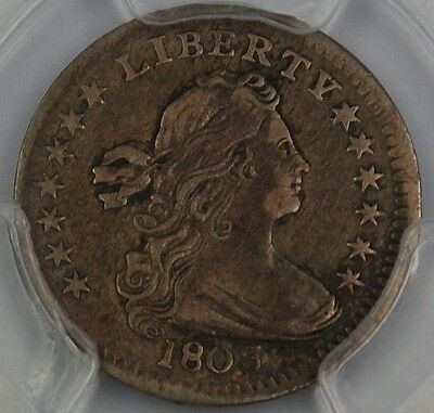 1803 Draped Bust Silver Half Dime, PCGS VF Details, Large 8, Bent