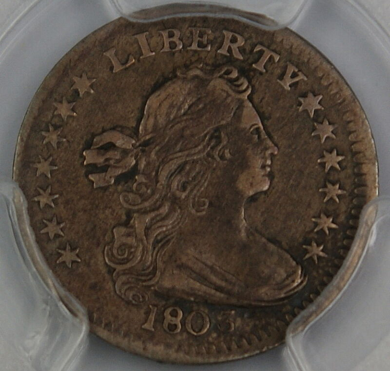 1803 Draped Bust Silver Half Dime, PCGS VF Details, Large 8, Bent