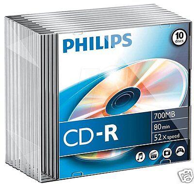 Philips CD-R 80 min/ 700MB Rohlinge 10er Slimcase CR7D5NS10