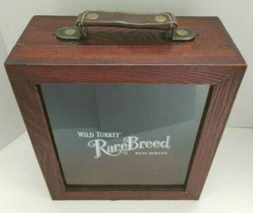 Vintage Wild Turkey Rare Breed Bourbon Wood Storage Case Box W/ handle Bar Decor