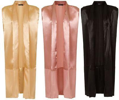 Womens Sleeveless Long Duster Coat Waistcoat Ladies Blazer BOOHOO Wrap Jacket UK Womens Duster