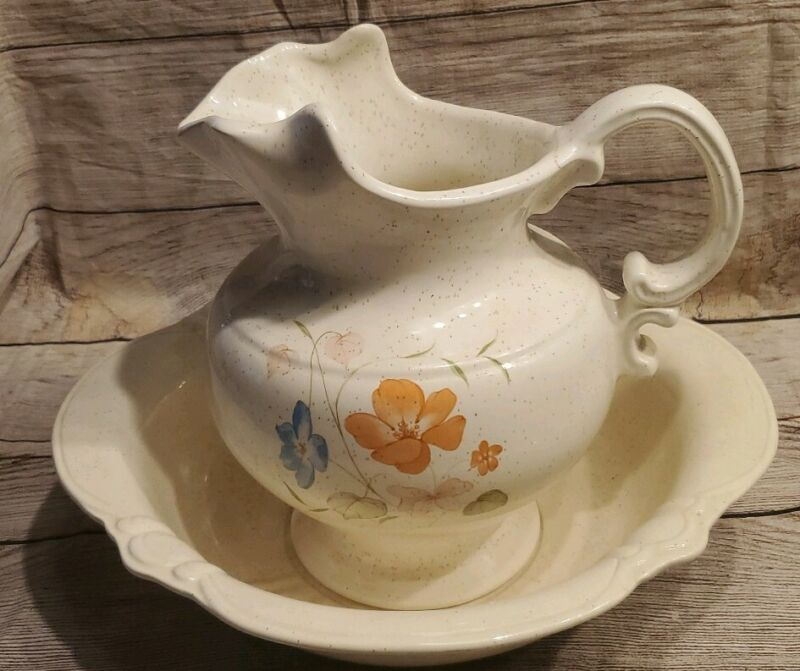 Vintage Treasure Craft Ceramic Pitcher and Wash Bowl