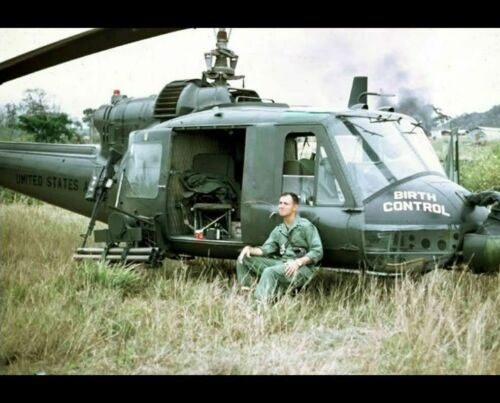 Vietnam War Huey BIRTH CONTROL Gunship Pilot PHOTO US Army Helicopter BELL UH-1C