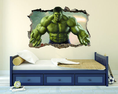 Hulk Super Hero 3D Effect - Smashed Wall 3D -  Wall Decal Nursery For Home (Hulk Wall Decal)