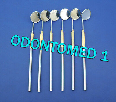 6 Dental Mouth Mirror 5 With Gold Plated Handle Dental Surgical Instruments