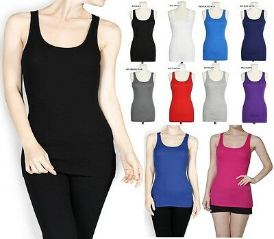 BASIC RIBBED RACER BACK TANK TOP LONG LAYERING JUNIOR PLUS SIZE S M L 1X 2X 3X