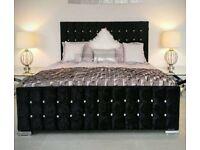 BRAND NEW BLACK PLUSH VELVET FRAME BED WITH DIAMANTE HEADBOARD