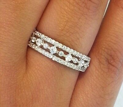 Womens 0.50 CT Diamond Wedding Band Anniversary Ring 14k Solid White Gold Bridal