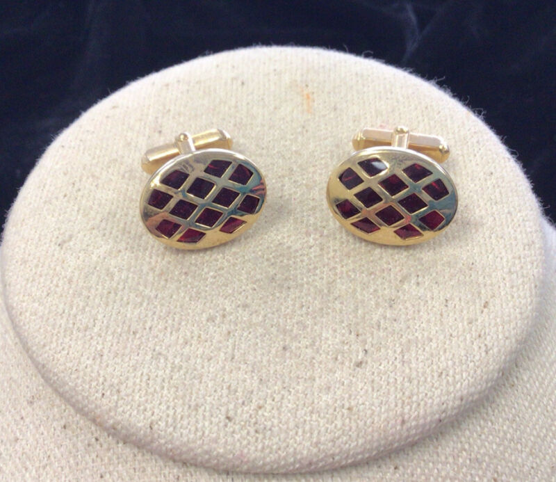 Vintage Mens Anson Gold Tone Costume Red Glass Cuff Links HH262