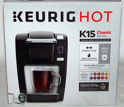 Keurig K15 Single Serve Compact K Cup Pod Coffee Maker  Black  New