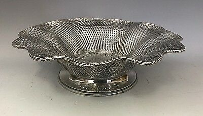 Antique Christofle Silver Plate Round Footed Woven Serving Basket Wave Design