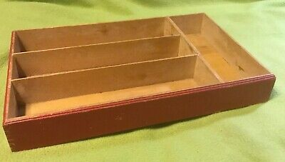 Vintage ~Utensil Divider ~ Red ~ Wood ~ Dove Tails ~ 4 Divides