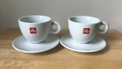 2 ILLY White Red Logo Cappuccino Cup & Saucer Sets - IPA Italy - EUC