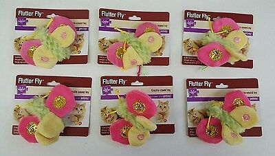 Flutter Activity Toy - (Set of 6) Cat Toys 'Flutter Fly' Colorful Butterfly With Crackle Sound Wings
