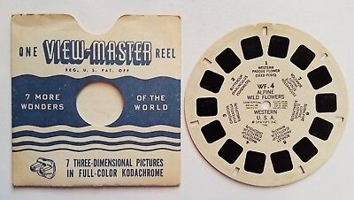 Viewmaster Reel Alpine Wild Flowers WF-4 Sawyers 1946 3D Floral Pictures