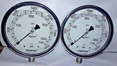 Lot Of 2 Pcs High Pressure Gauge Dual Scale 0-2000 Bar 0-30000 Psi