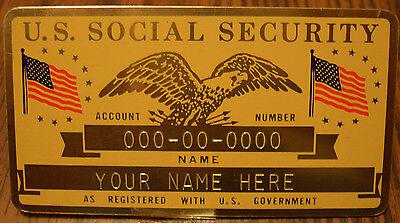 Metal U.S. Social Security ID Card Flags - Gold Color - Custom (Us Engraving)