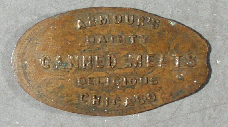 1901 PAN-AM EXPO MFG. & LIBERAL ARTS BLDG. & ARMOUR MEATS AD, ELONGATED TOKEN