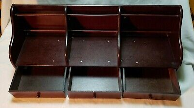 Vintage Wooden Country Letter Holder Mail Desk Office Organizer Caddy Bill Sorte