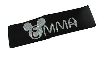 Customizable Glitter Headband with Name Disney Inspired Lettering Silver Black