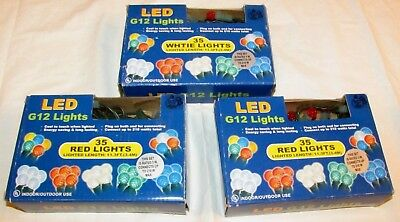 (NEW Lot 3 PARTY or CHRISTMAS Lights Strings, Red, White G12 LED Globe Type Fairy)