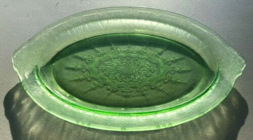 Vintage Green Depression Glass Oval Platter / Serving Tray