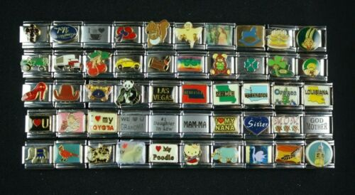 Italian Charms 50 Assorted Stainless Steel Wholesale Lot 9mm (C50-1219) variety