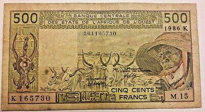 500 francs CFA BCEAO 1986