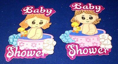 BABY SHOWER GIRL PARTY SUPPLY DECORATION FOAM FIGURES 10 PACK GLITTER - Foam Figures