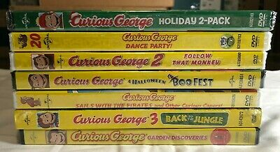 Pbs Curious George Halloween Movie (Lot of 7 Curious George Dvd PBS New A Very Monkey Christmas)