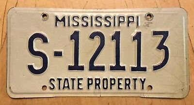"""MISSISSIPPI STATE PROPERTY  LICENSE PLATE """" S 12113 """"  MS"""