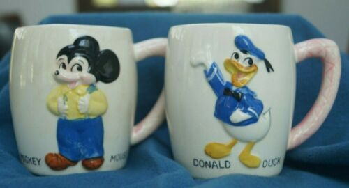 Vintage 1961 Walt Disney Mickey Mouse and Donald Duck Ceramic Mugs