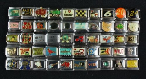 Italian Charms 50 assorted Stainless Steel Wholesale Lot 9mm (C50-244)