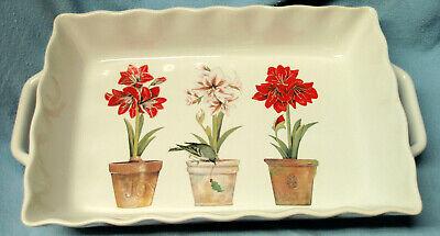 MARY LAKE-THOMPSON Ceramic 8x12 Baking Dish Christmas Amaryllis Flowers Bird EUC
