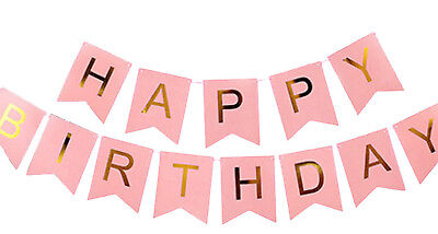 Pink and Gold Happy Birthday Banner, 1st Birthday Girl Banner](Happy 1st Birthday Banner)