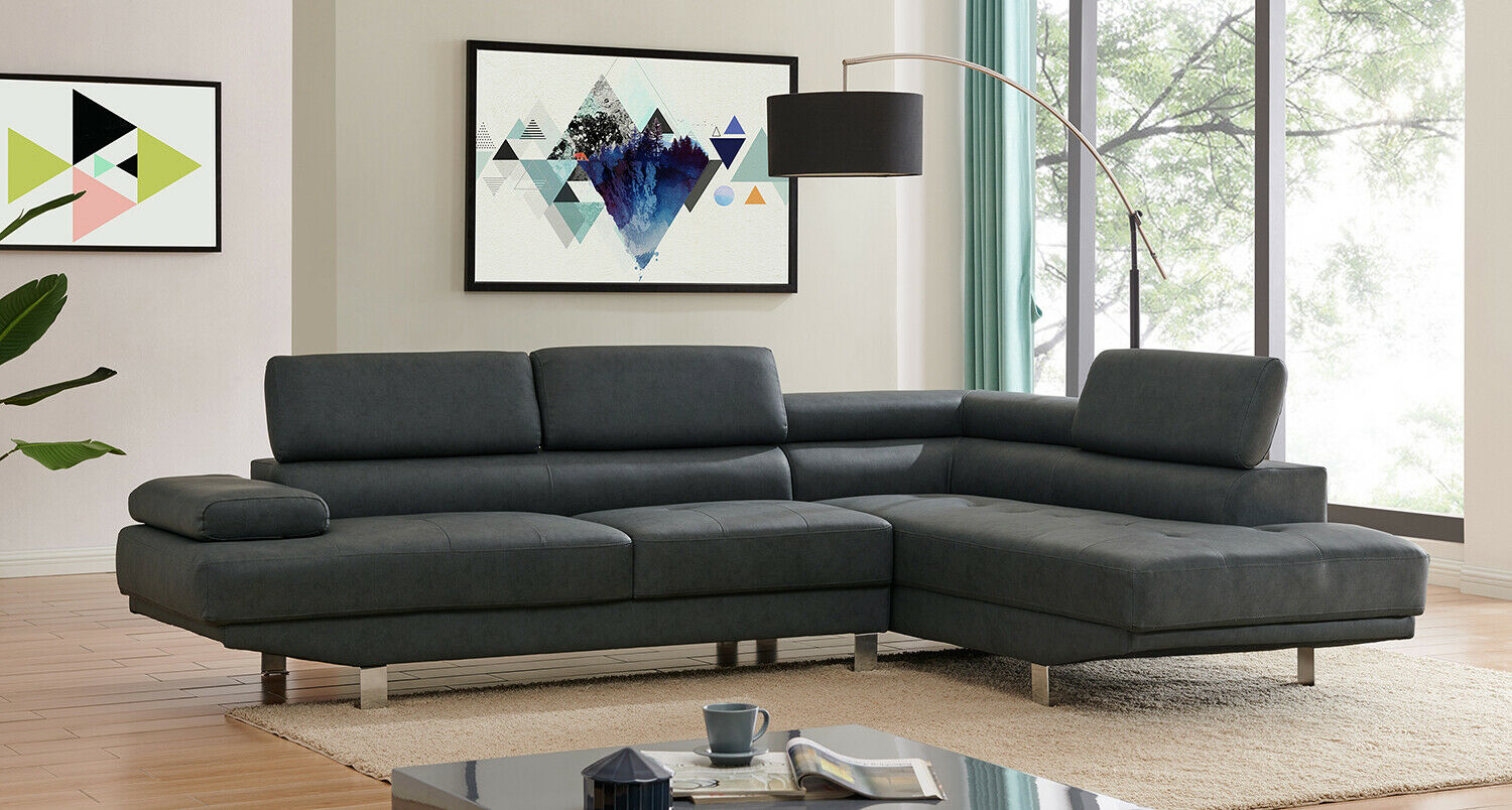 2 8m Modern Black Corner Fabric Sectional Sofa Chaise Lounge Suite Couch Ebay