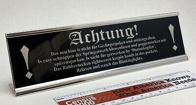 Achtung! Warning Stereo Desk Sign - Custom Silver Aluminum