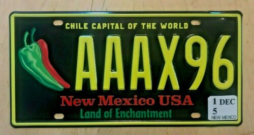 """FIRST ISSUE AAA NEW MEXICO CHILE PASSENGER AUTO LICENSE PLATE """" AAAX 96 """" NM"""