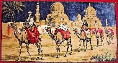 """Vtg. Velvet Tapestry Wall Rug Middle Eastern Camels Made In Italy 38"""" X 19 3/4"""""""