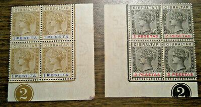 British Europe: Gibraltar  Scott's # 36a & # 37  - from 1895  NG - 2 blocks of 4